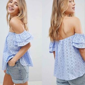 ASOS • Off The Shoulder W/ Ruffle Sleeve
